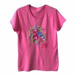 Pink Floral Embroidered Short Sleeve Tee medium